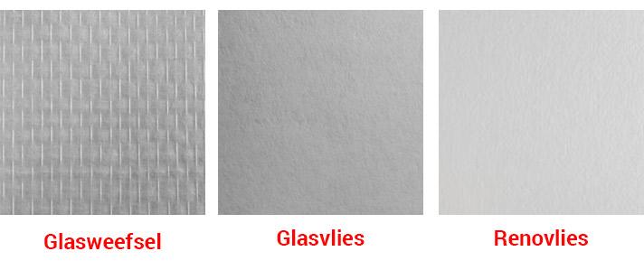 3 soorten behang renovlies op een rij